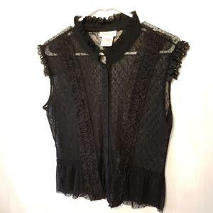 Worthington Black Lace Button Down Blouse